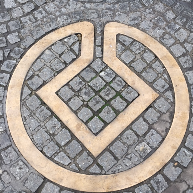 UNESCO symbol underfoot in Bath England