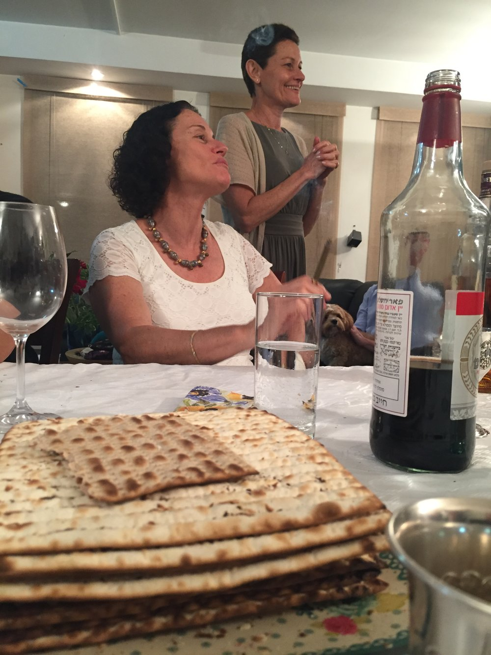 Passover Still Live with Matzah: Two of our many kind hosts for the night.
