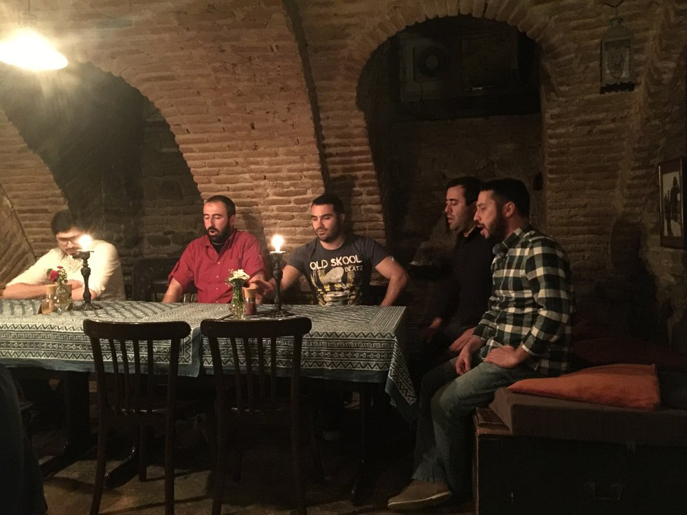 Traditional Singers belting out the harmonies at Poliphonia in Tbilisi, Georgia
