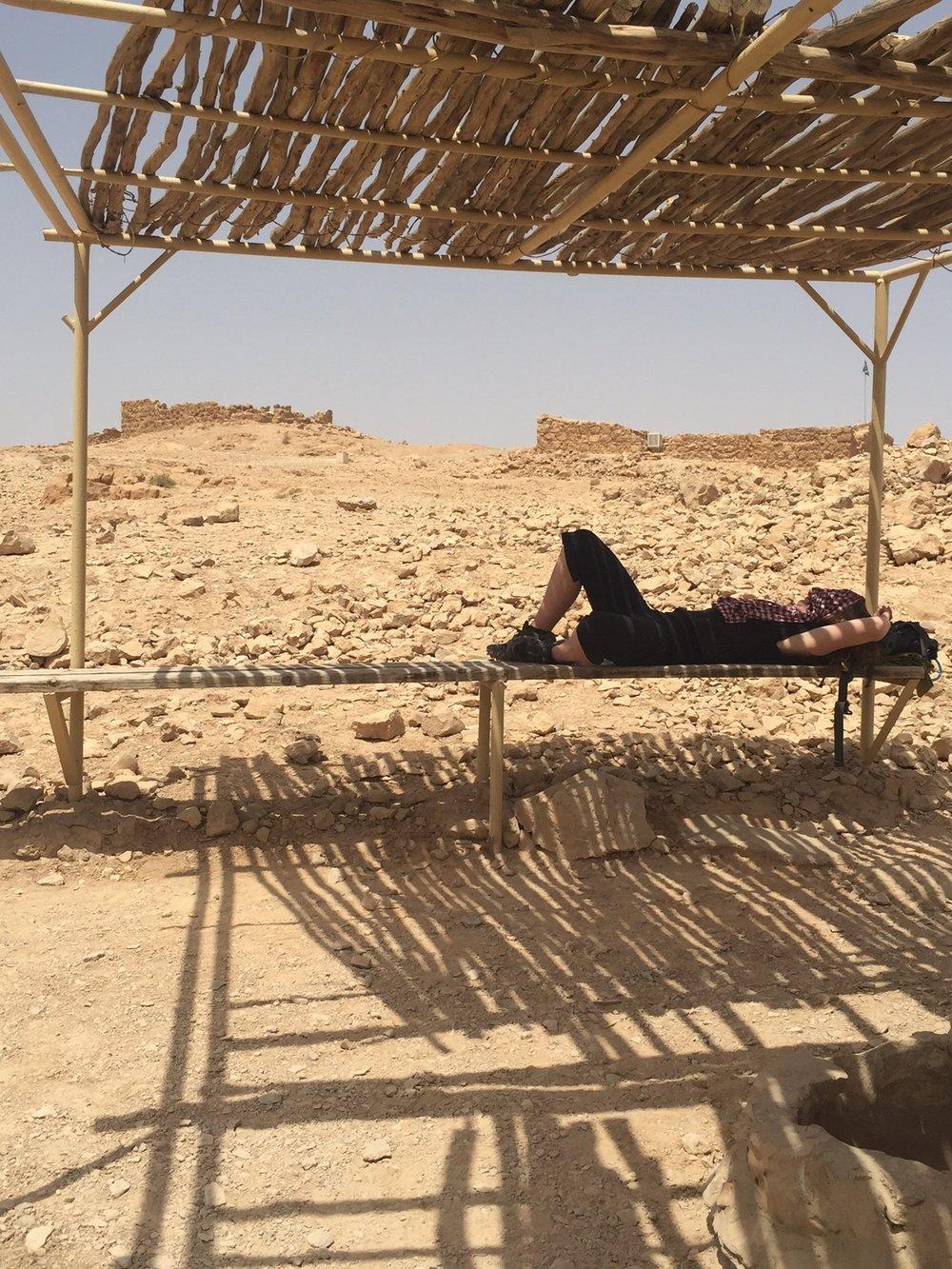 Jill taking a break at Masada, Israel