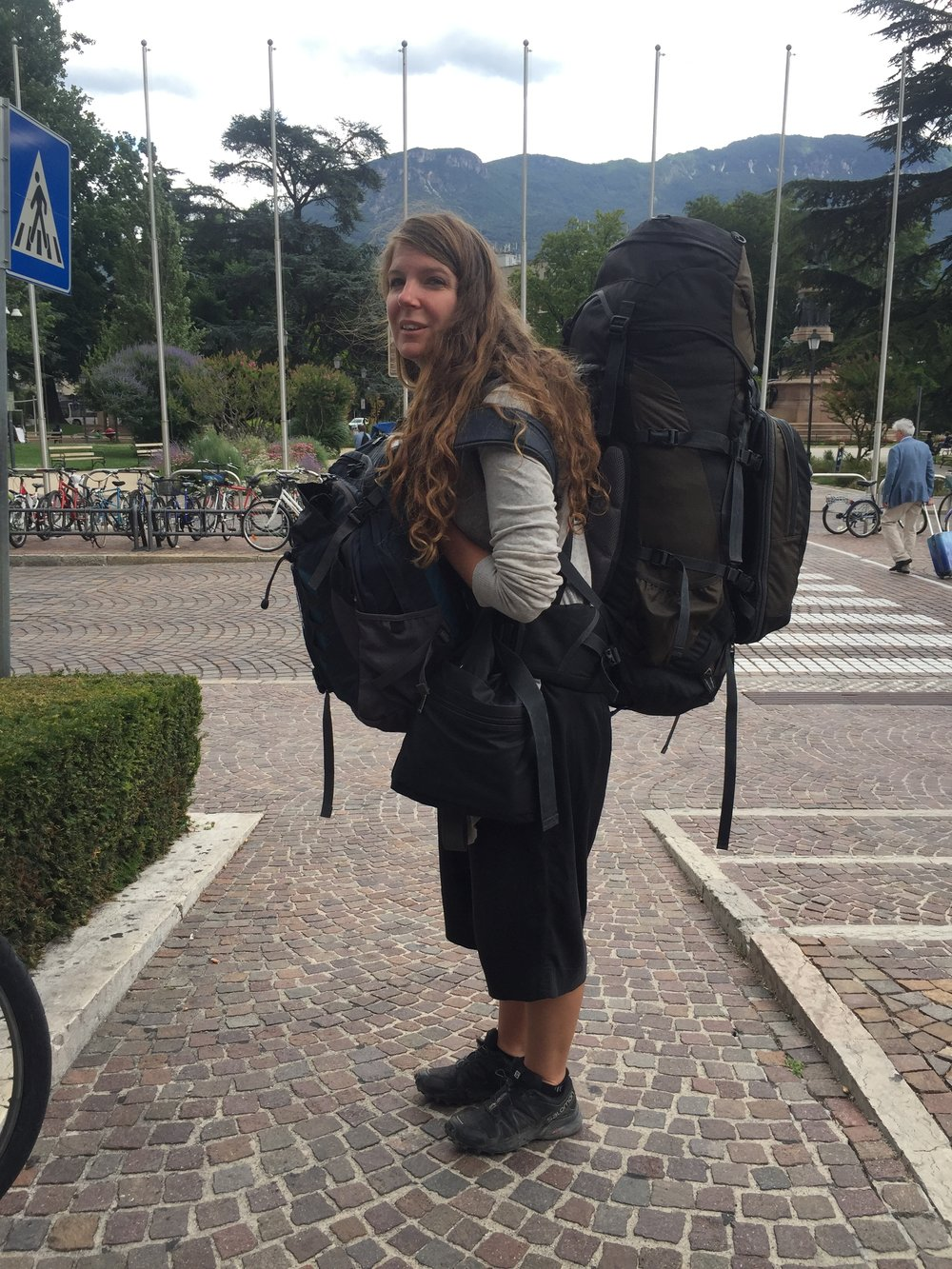 A lighter load than normal: Jill sports everything necessary for full time travel