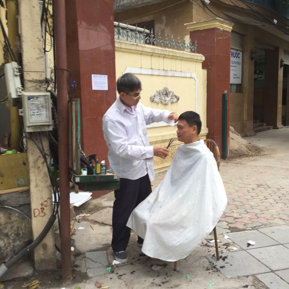 Streetside Haircut: Hanoi, Vietnam
