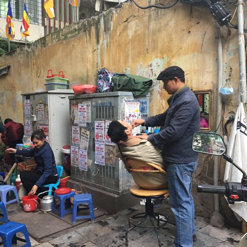 Streetside Haircut Hanoi, Vietnam