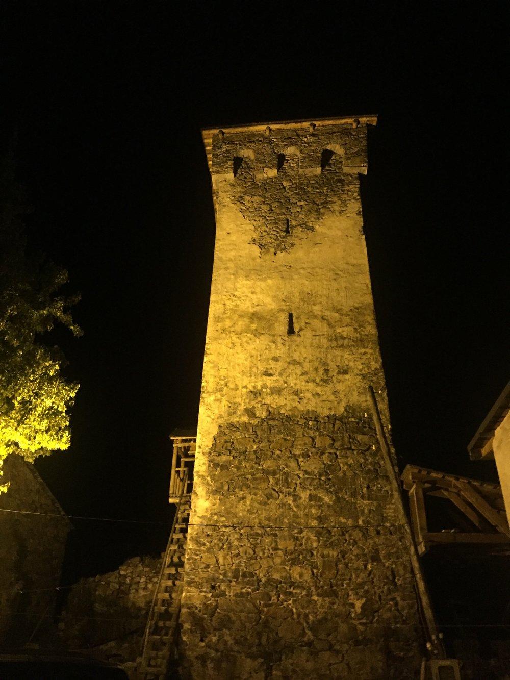 Svan tower at night
