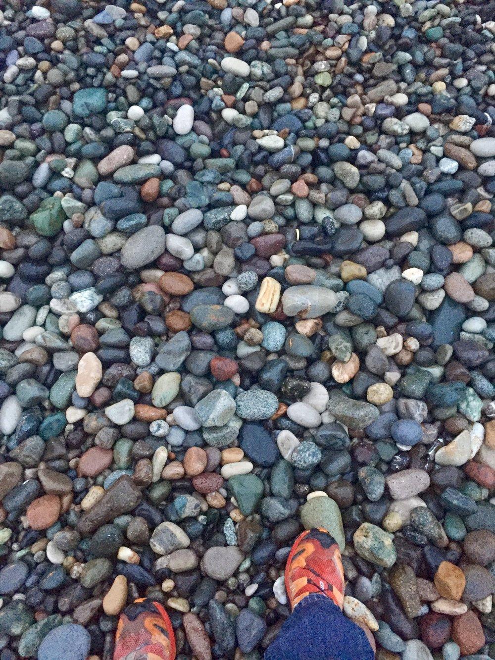 The pebbly beach in Batumi