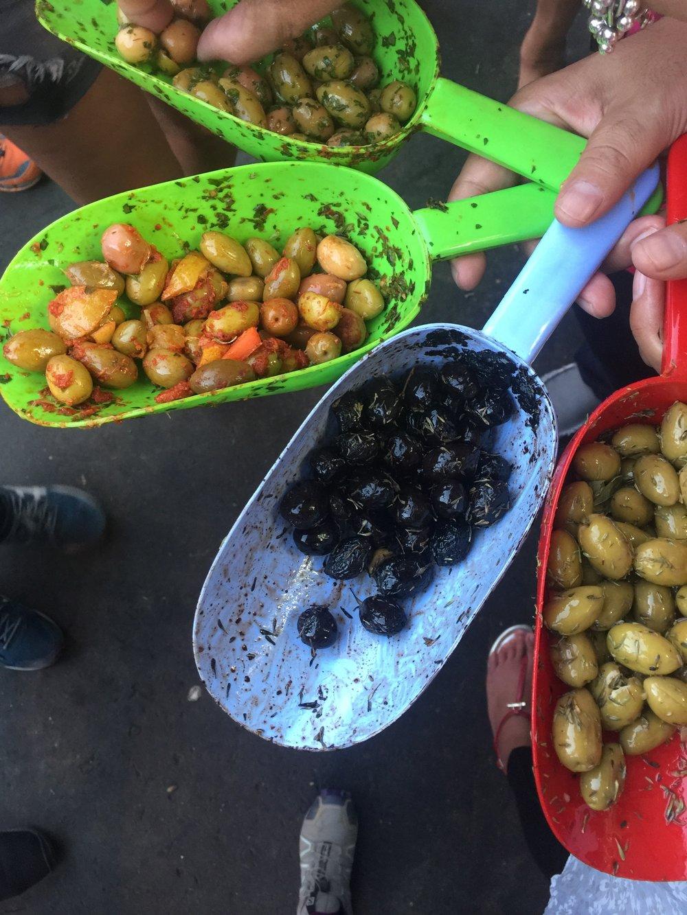 A sampling of olives at stop 2