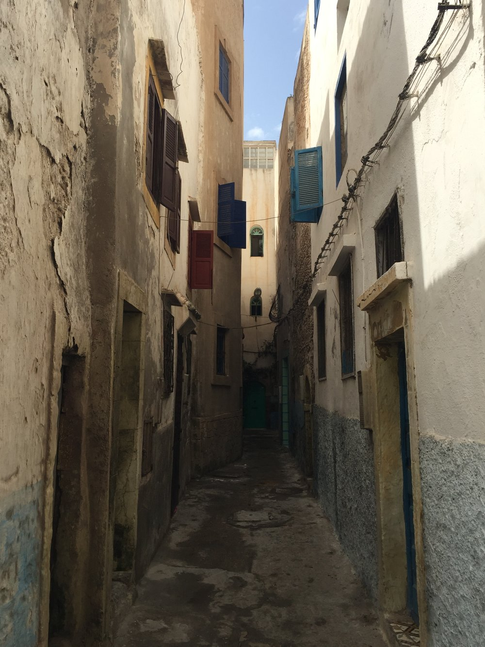 A typical street in Essaouira, Morocco