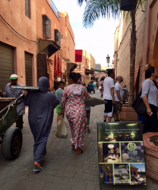 This is actually a quiet moment on the streets of Marrakech's Medina