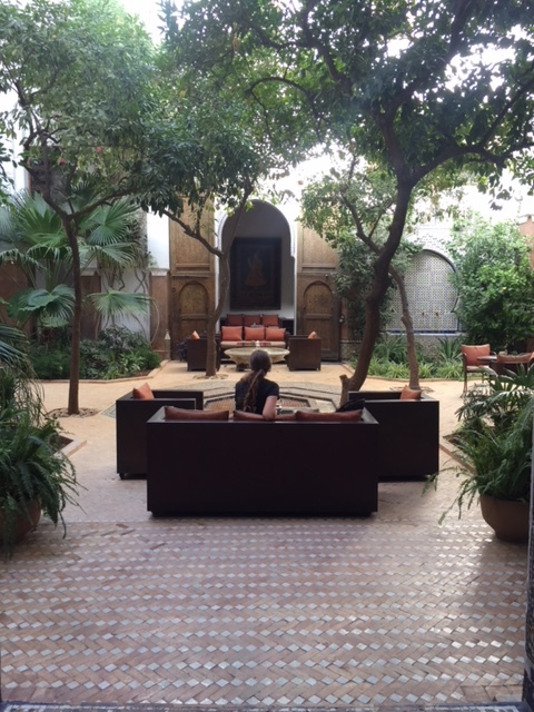 Taking a peaceful moment in a riad in Fes.