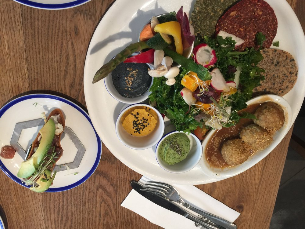 Our mezze platter for 2 and taco at Flax & Kale