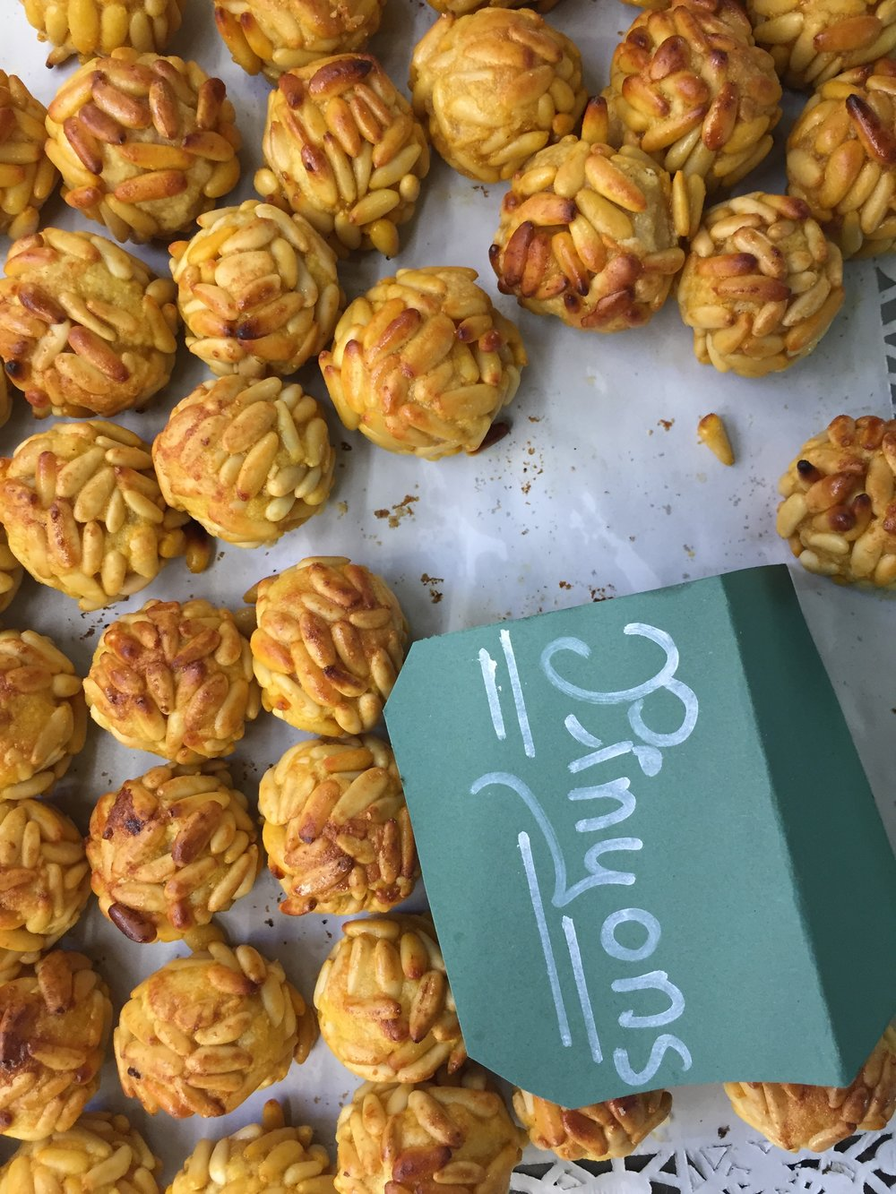 Marzipan surrounded by Pine Nuts