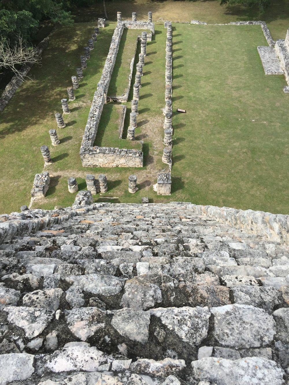 The climb down from the tallest structure at Mayapan