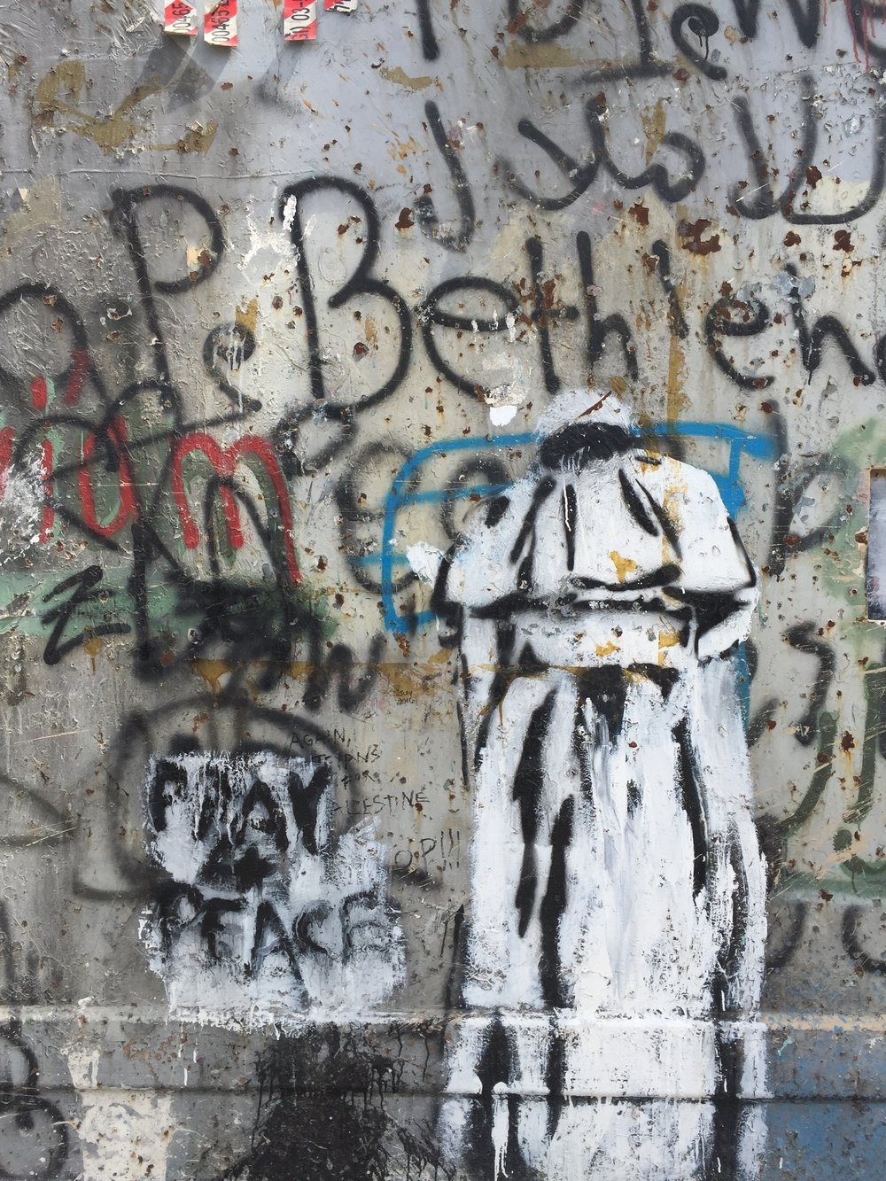 Graffiti commemorating the Pope's visit to the wall in Bethlehem