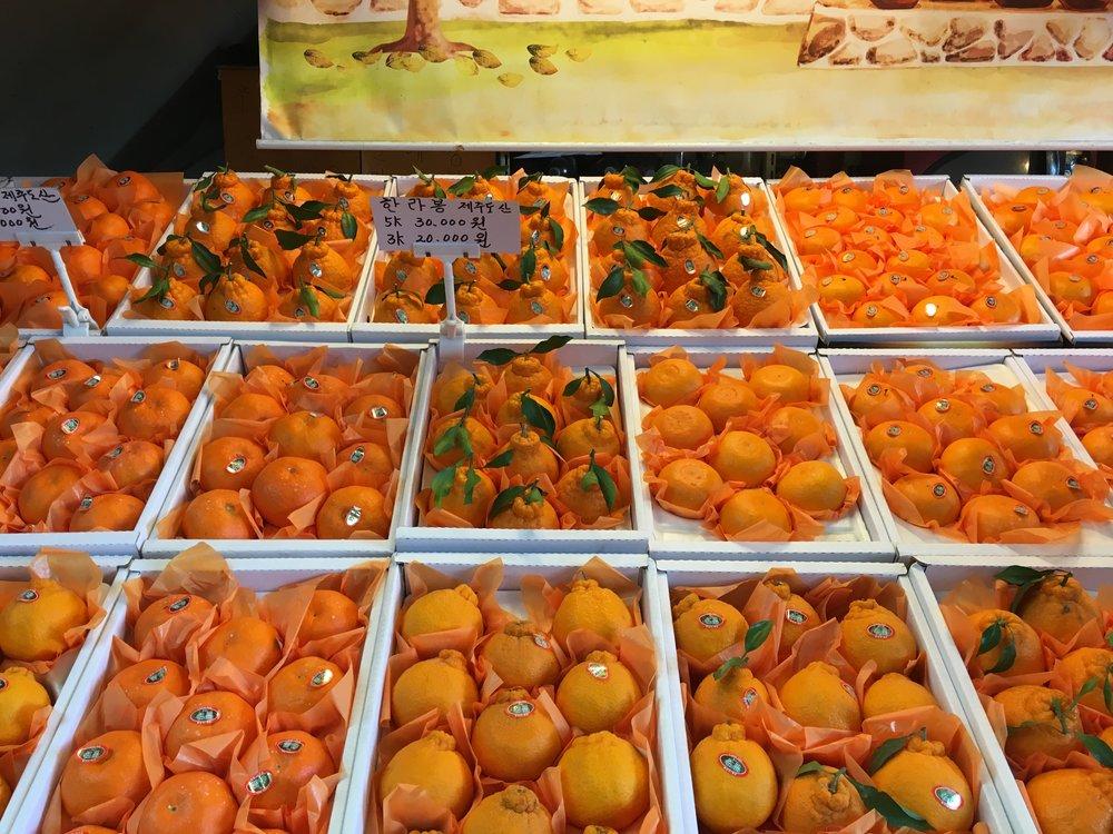 Crates of Jeju Island Mandarins