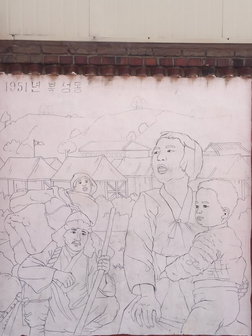 "The best mural we saw on the ""mural streets"" was this line drawing."