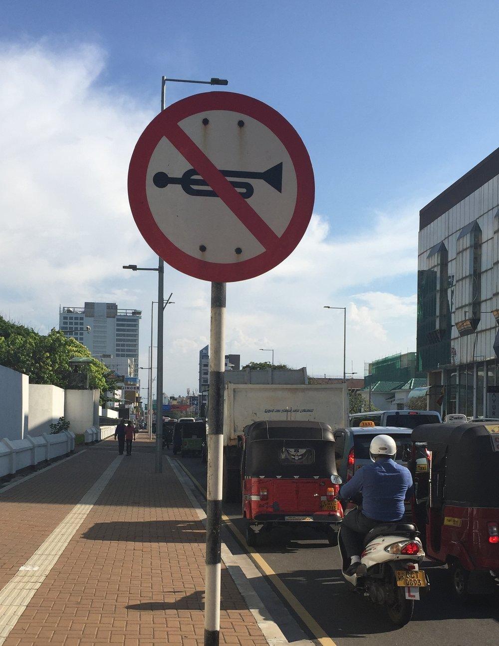 No Jazz: Street Sign in Columbo Sri Lanka
