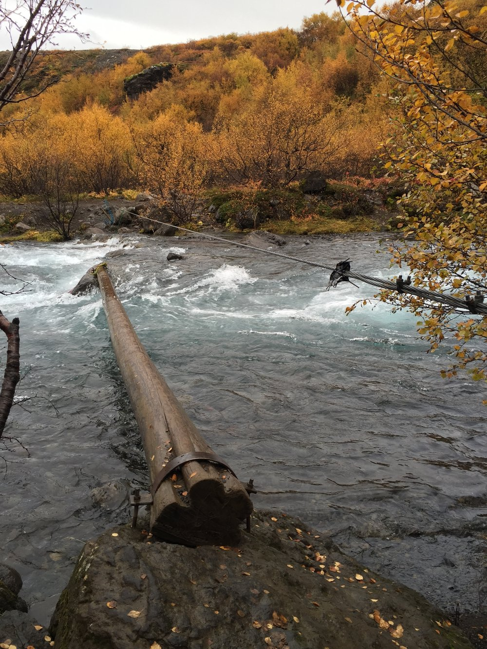 Our way across the river coming back. That transition from wood to rock is where you need to dip under.