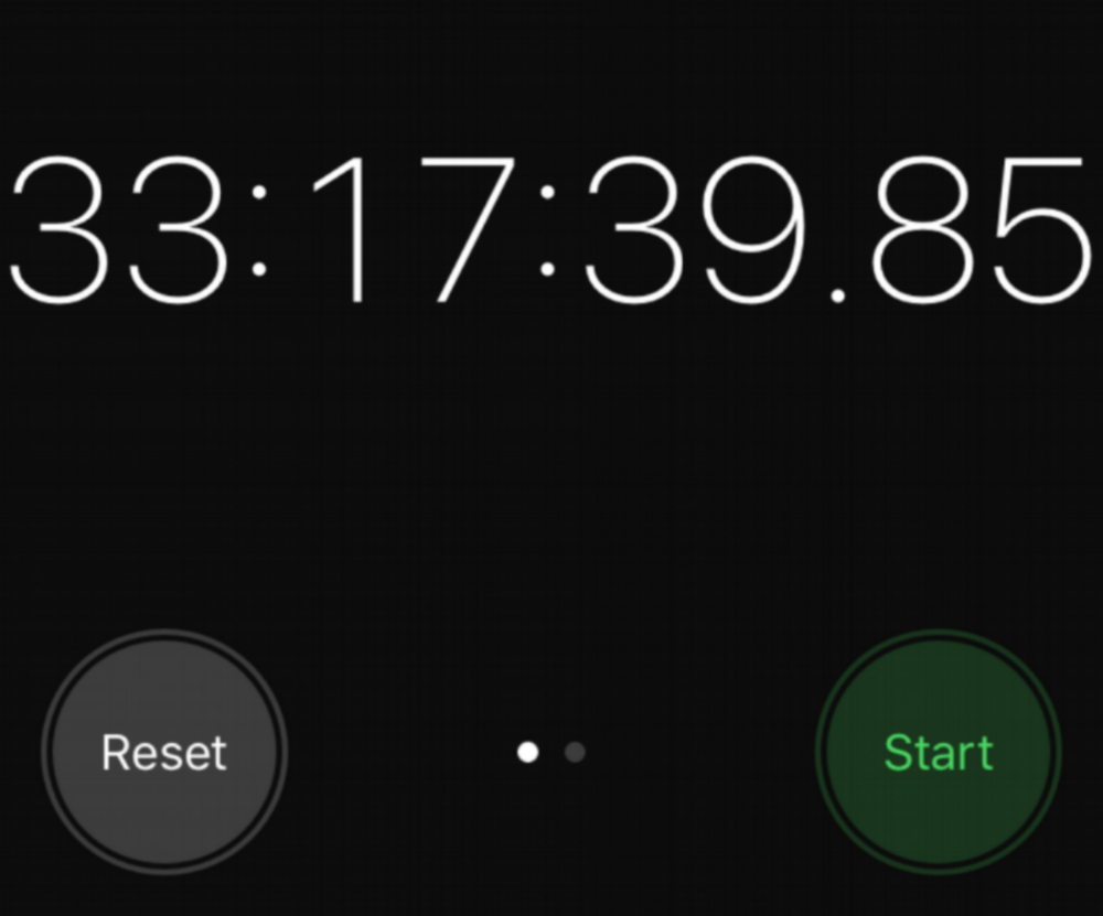 Screenshot of iPhone Stopwatch