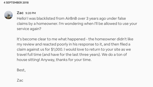 Actual message to Airbnb resolution center w/vague & confusing reference to house sitting.