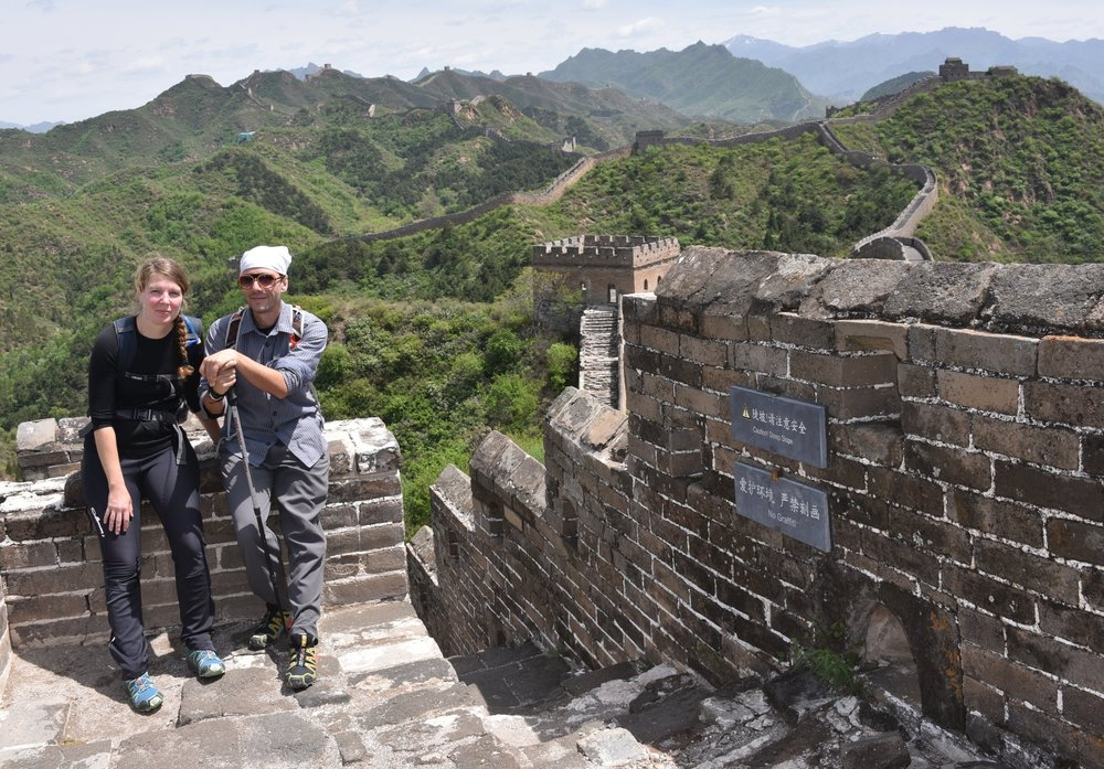 Jill & Zac hiking the Great Wall for 5 days.