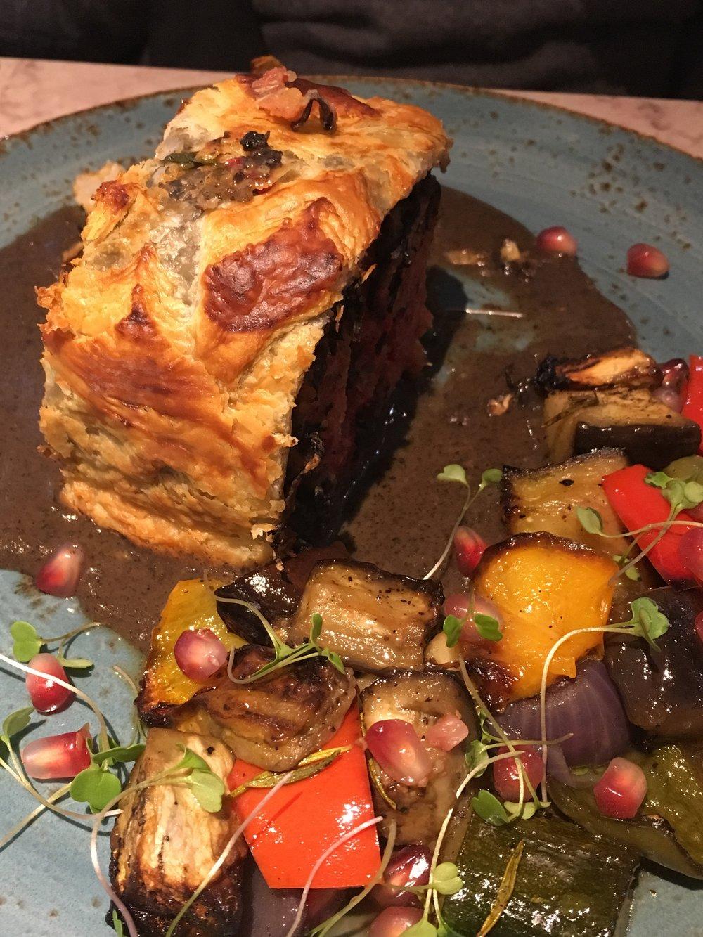 Beet Wellington and Roast Veg
