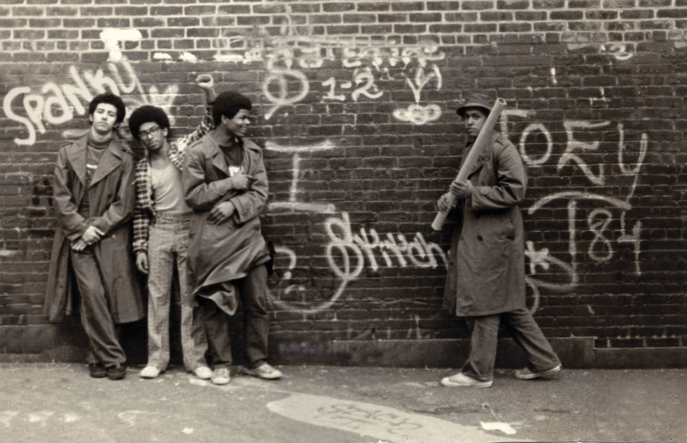 SNAKE 1, STATIC 5, FLASH 191, and STITCH 1 at the P.S. 189 school yard in Washington Heights,  New York. Circa 1973.