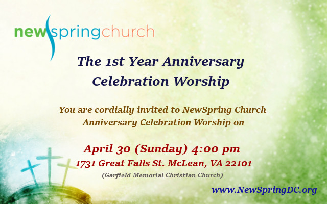 1st year anniversary celebration new spring church we also want to be empowered by our friends prayers and encouragement please invite your friends and make this a glorious day for the lord altavistaventures Choice Image