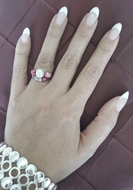 Classic french with bright white and light pink Polygel.