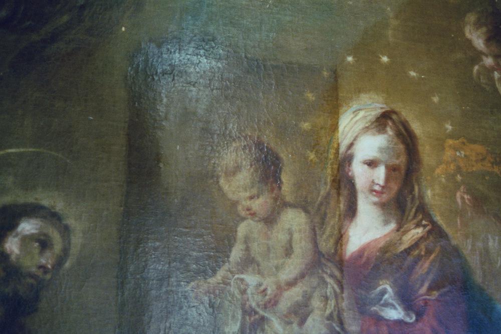 M.J.Schmidt Hl.Familie Detail während Firnisabnahme.JPG