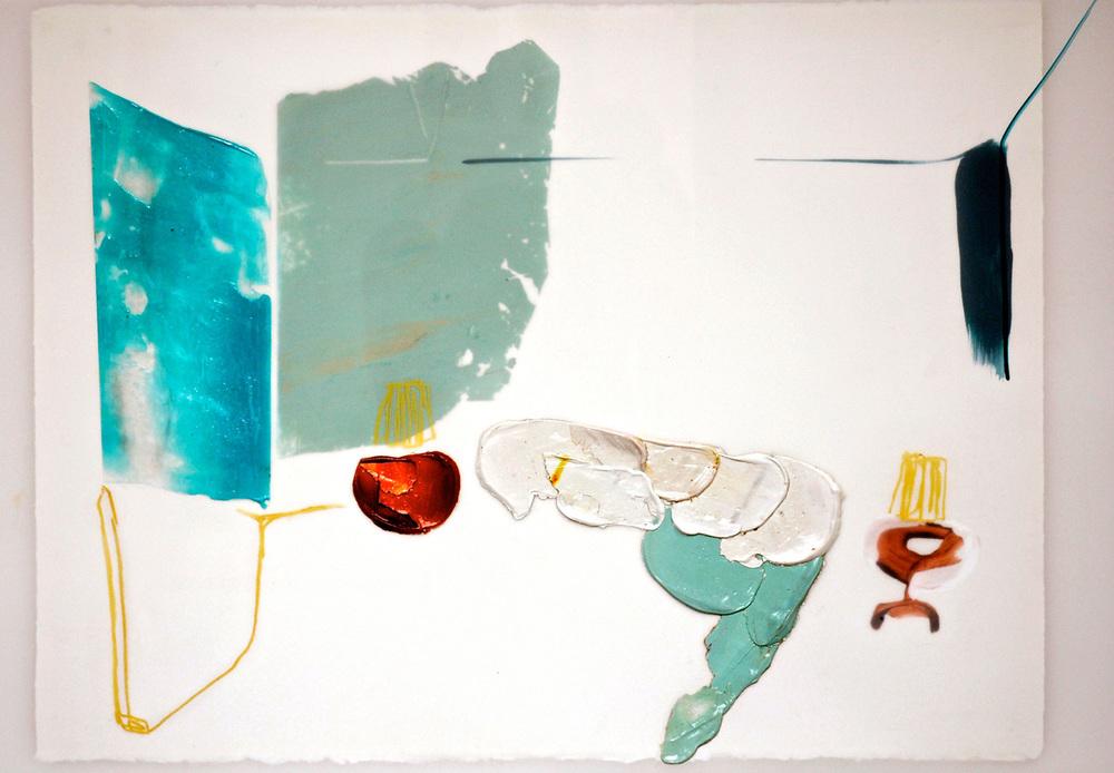 Chevet , 2015 Acrylique et crayons sur papier Mylar 30'' x 22''