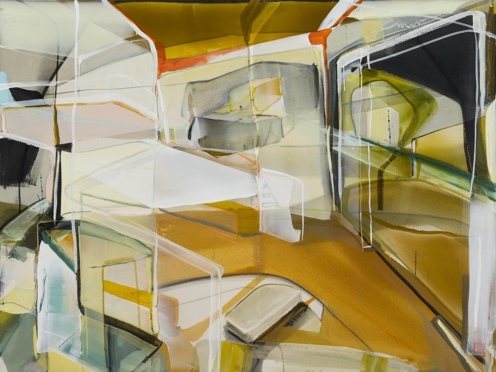 Angle mort et rapprochement: Intérieur, 2015  acrylique sur toile 36'' x 48''