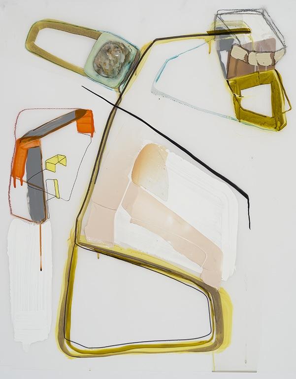 Trajet, 2015  encre et acyclique sur papier Mylar 36'' x 30''
