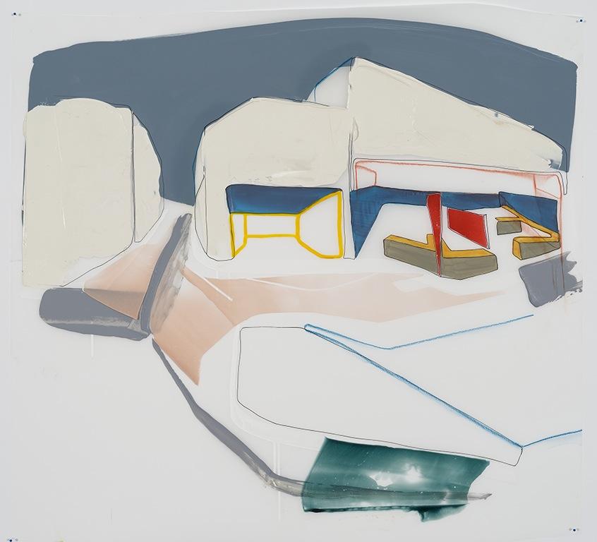 """Locaux, 2015  acrylique et crayons sur papier Mylar 33'' x 36"""""""