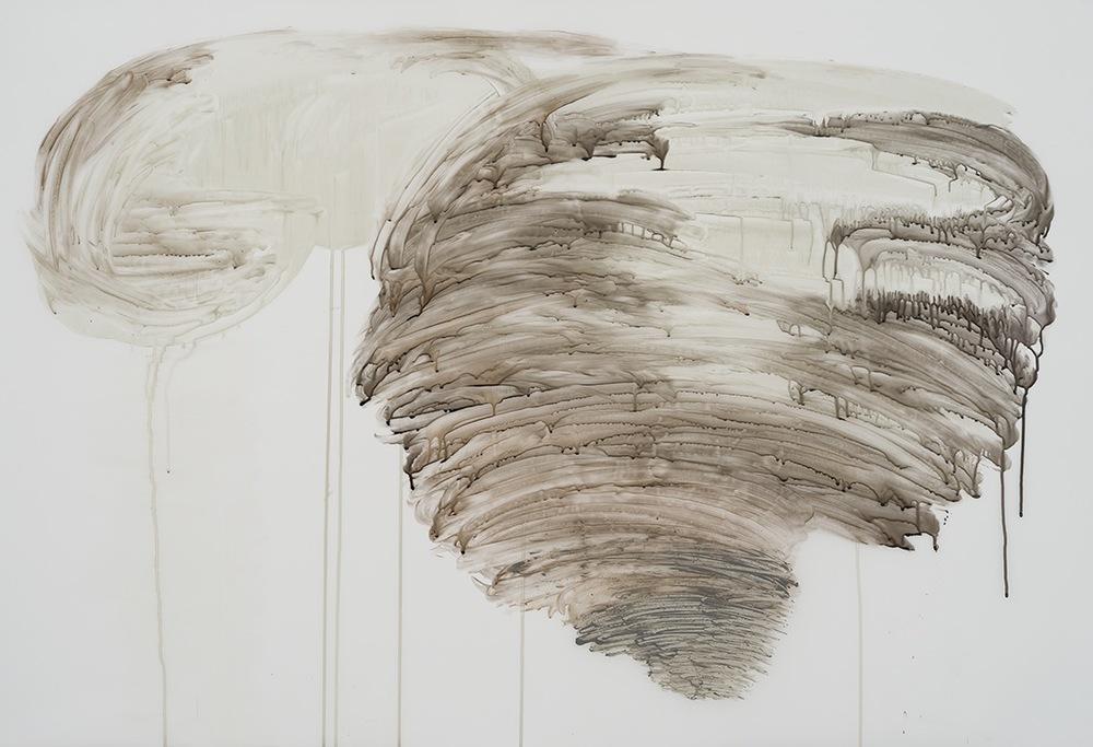 Gros temps 2, 2015  encre et acrylique sur papier Mylar 36'' x 52''