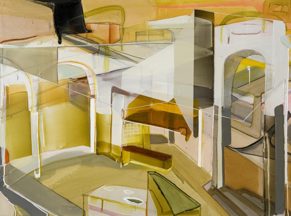 Secousse prolongée, 2016  acrylique sur toile              36'' x 48''