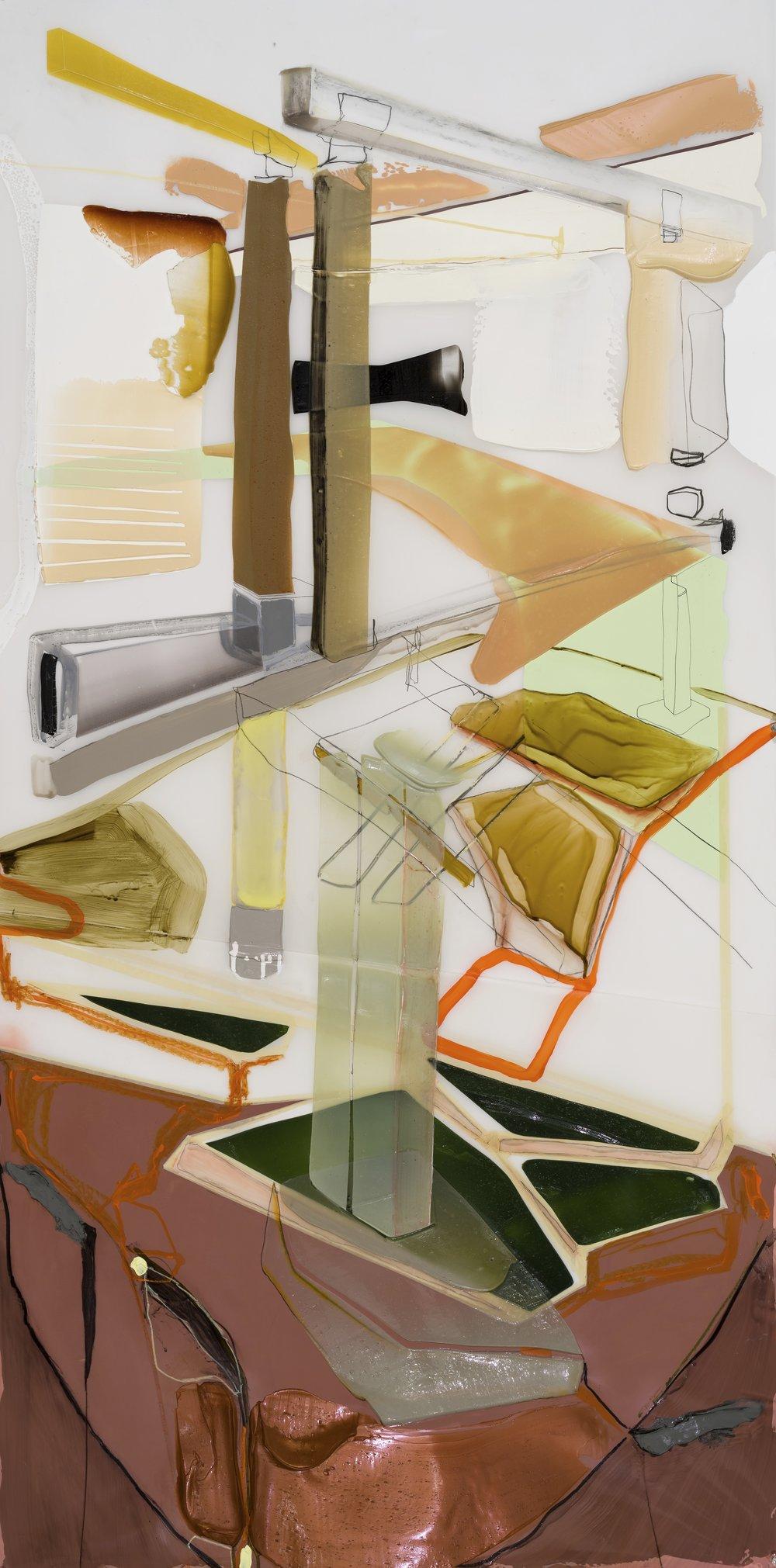 Vertical stress 1, 2017 acrylique, crayons et ruban sur Mylar    70'' x 36''