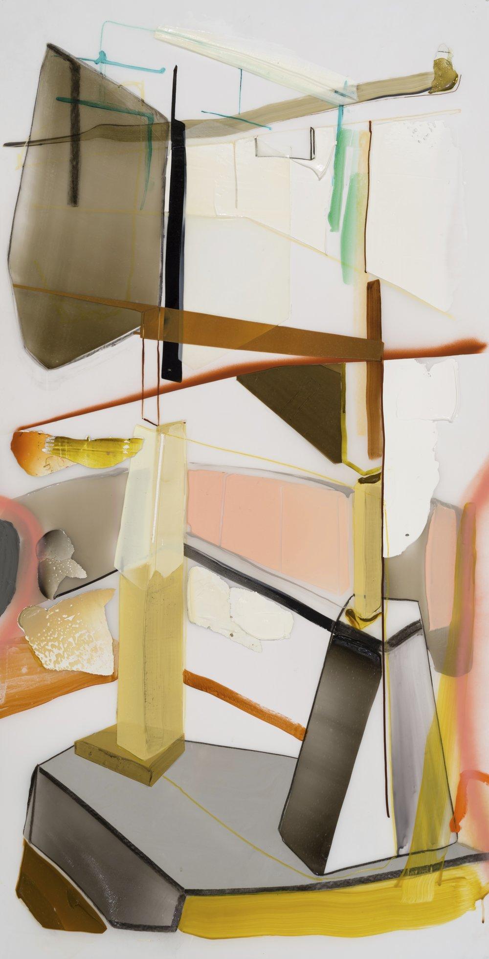 Vertical stress 2 , 2017 acrylique et crayons sur Mylar  70'' x 36''
