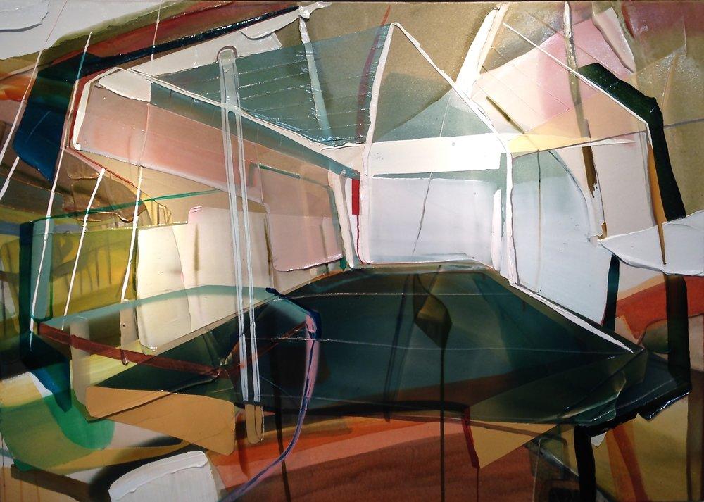 Étude pour un atelier  2017  acrylique et aérosol sur canvas  60 x 50