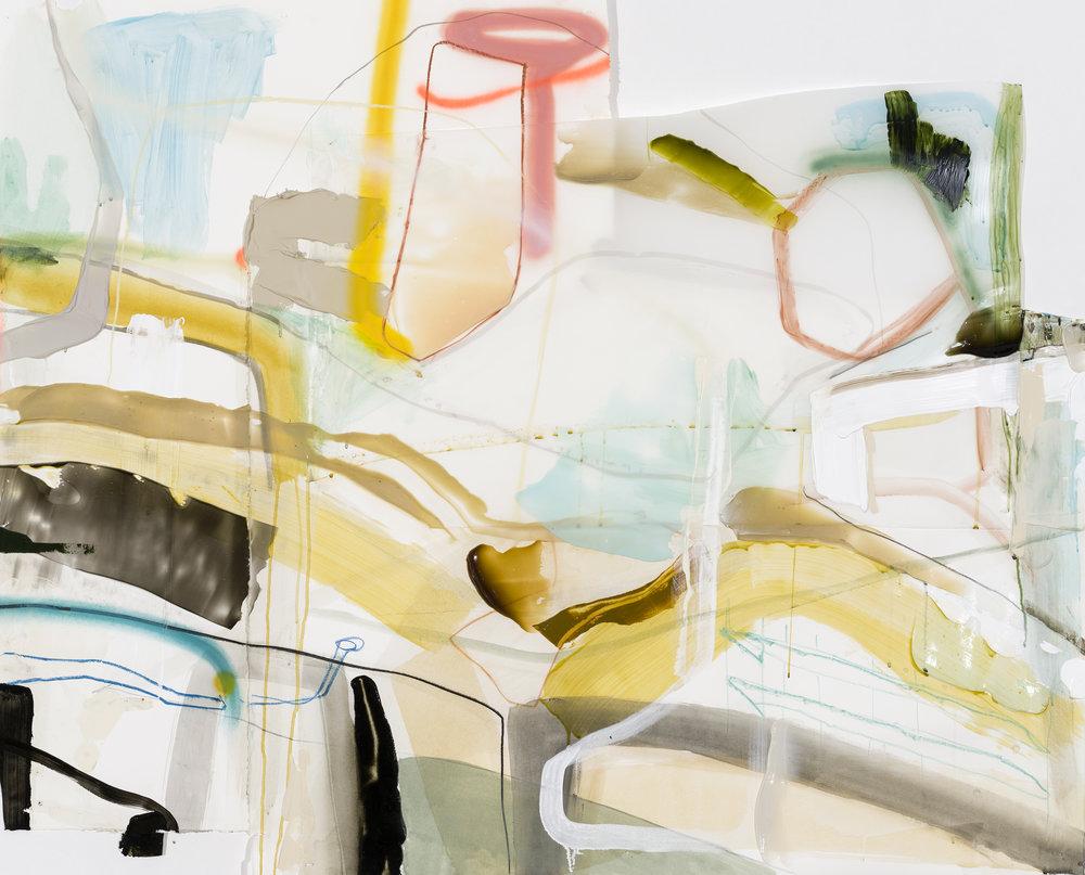 Étude préparatoire: Administration (Série: Sièges sociaux) , 2017. Acrylique, crayon et aérosol sur papier et Mylar, 44'' x 55'' irrégulier