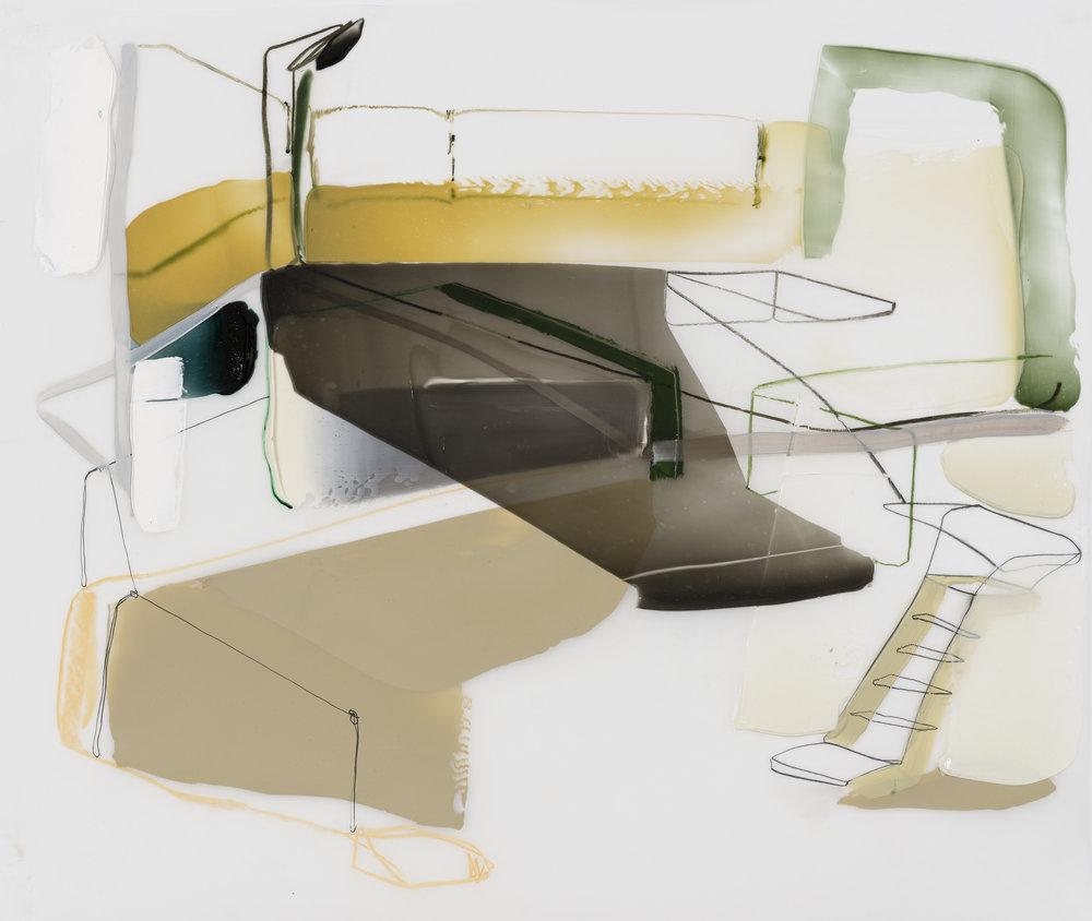 Jet Air, (Série: Sièges sociaux), 2017. Acrylique et crayons sur Mylar, 30'' x 36''