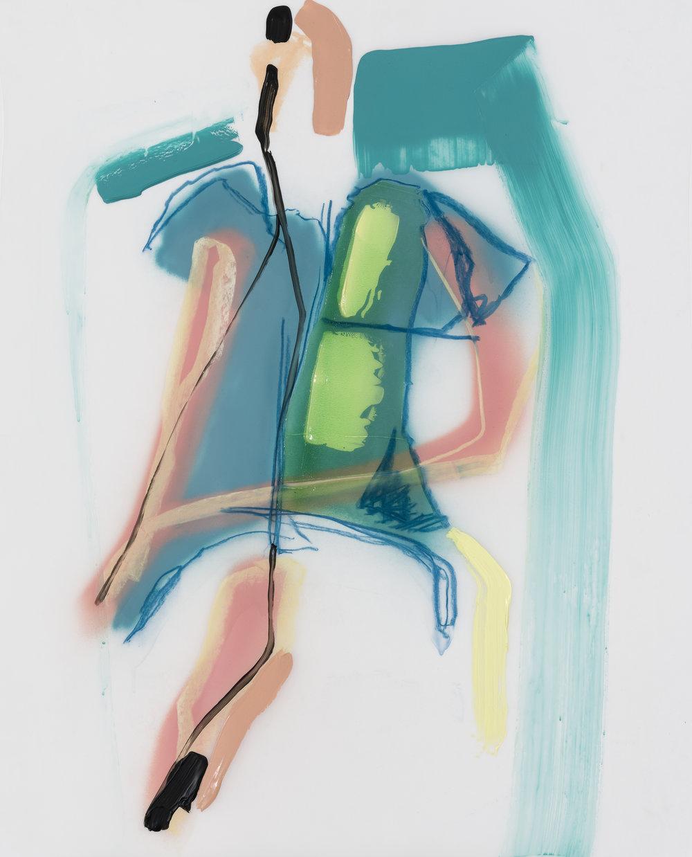 Sans titre, 2017. acrylique et crayons sur Mylar, 30'' x 36''