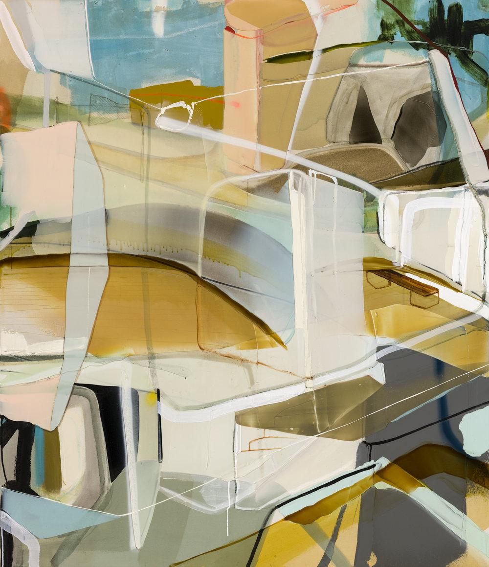 Administration (série: Head quarters)  2018 acrylique et aérosol sur toile 70'' x 60''