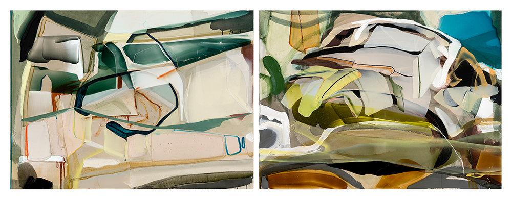 Dyptique: Silencia  2018 acrylique et aérosol sur toile    35'' x 94''