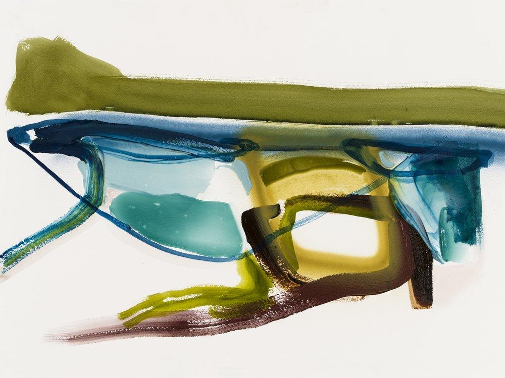 Bathus, acrylique et aérosol sur papier  22'' x 30'', 2018
