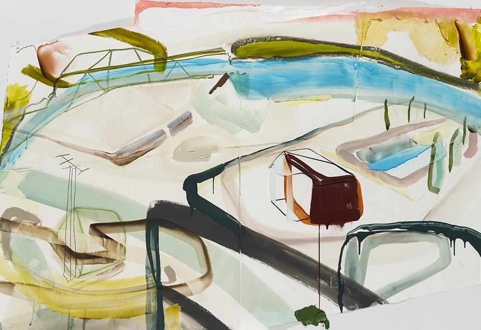 """Study for Above the flooded zone   2018 acrylique, crayons et aérosol sur papier 40"""" x 60"""" irrégulier"""
