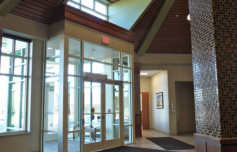 Front lobby entrance for Columbia St. Mary's in Grafton, Wisconsin.