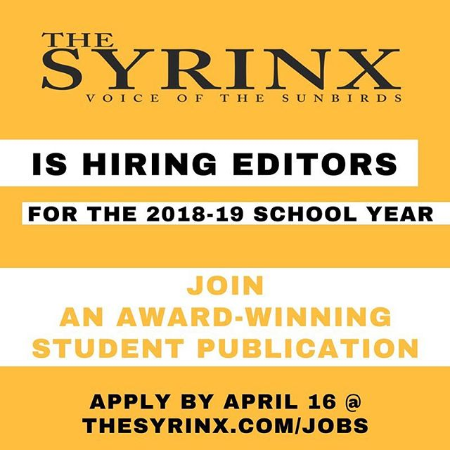 Deadline to apply for our editorial positions is next Monday! Make sure to go to thesyrinx.com/jobs to read about our different openings.
