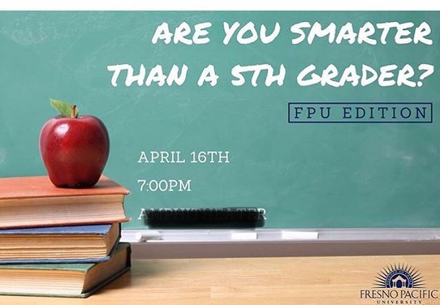 SGA will be hosting 'Are You Smarter than a Fifth Grader' tonight at 7pm! Come join us in SCC 103 for a night of entertainment.