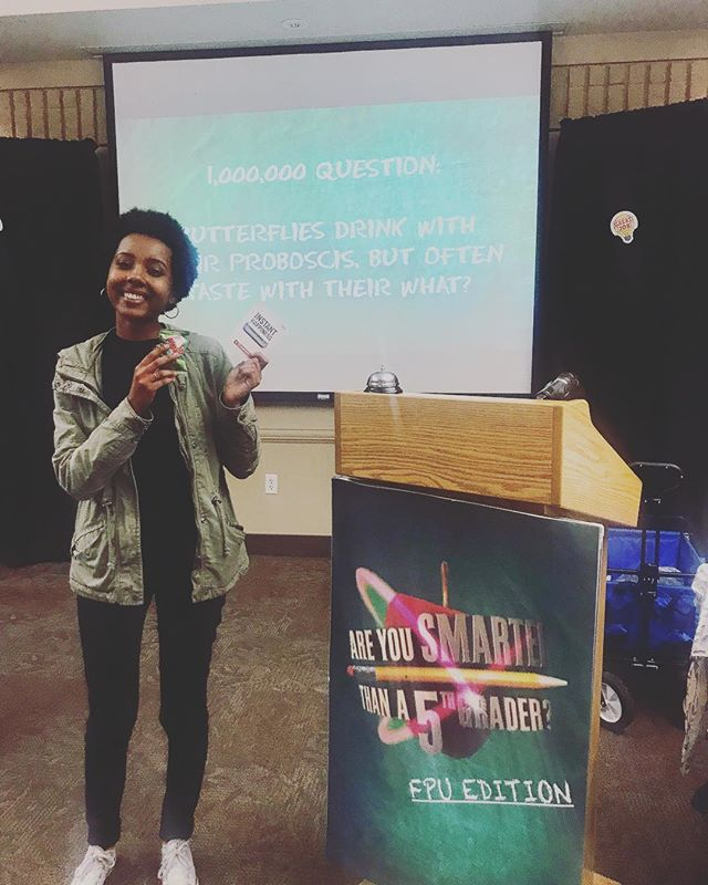Congratulations to Maranata Zemede for winning 'Are You Smarter than a Fifth Grader'! Thank you Student Government for organizing a fun event for our university!