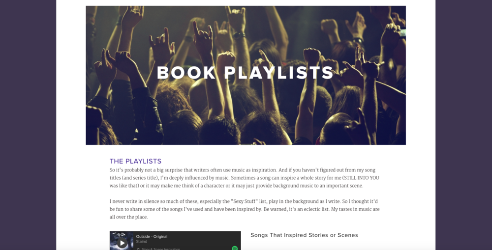 I have playlists for books, for characters, for special scenes, and an over Dark and Sexy list. Click here or the pic above.